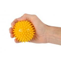 Trener dłoni piłeczka do ściskania z kolcami MSD żółta 8 cm.