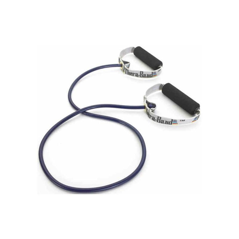 Tubing Thera Band 1,4 metra ze sztywnymi, gąbkowymi uchwytami – niebieski (opór extra mocny)