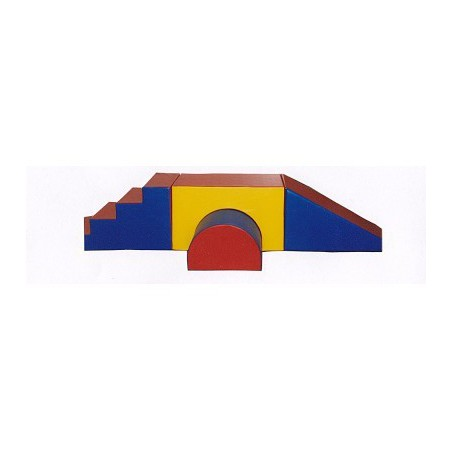Zestaw: schody ze zjeżdżalnią, most, półwałek