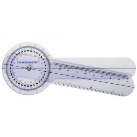 Goniometr plastikowy MSD  0º - 360º z podziałką co 1º, 15 cm